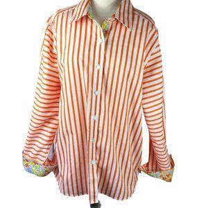 Orvis Orange/White Shirt-Contrasting Cuffs, Sz 14